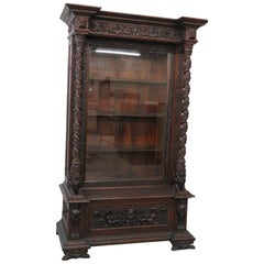 Antique Winged Griffin China Cabinet