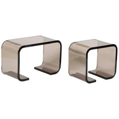 Set of Two Les Prismatique Tinted Lucite Side Tables