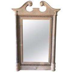 Maitland Smith Tropical NeoClassical Bamboo Rattan Split Reed and Stone Mirror