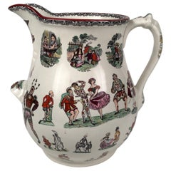 Giant 19th Century Staffordshire Pottery Harlequin Pitcher