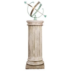 French Early 20th Century Armillary Sphere on Column Pedestal