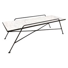 Arthur Umanoff Marble and Iron Coffee Table
