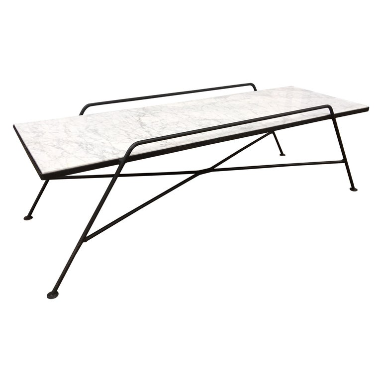 Arthur Umanoff Marble and Iron Coffee Table For Sale