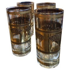 Mid-Century Modern S/4 Briard Style Gilt Wheat Sheath Theme Cocktail Glasses
