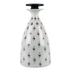 Ceramic Decanter Handmade in Italy x Raymor, USA, White and Red Eye Motif, 1960s