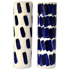 Pair of Rhythm Vases by Isabel Halley, in White Porcelain with Cobalt Glaze