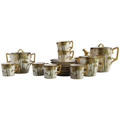 Japanese Hand Painted and Gilded Demitasse Coffee Service, New in Box, 1930s