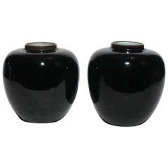 Pair of Black Chinese Kangxi Jars