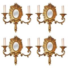 Set of Four Gilt Sunburst Sconces