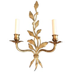 Pair of Maison Baguès Gilt Iron Foliate Leaf Wall Sconces