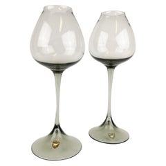 Pair of Orrefors Tulip, Grey-Tinted Glass Nils Landberg