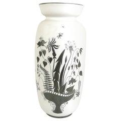 Gustavsberg Large Ceramic Vase with Silver Overlay Stig Lindberg, Grazia