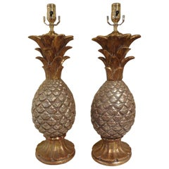 Pair of Vintage Italian Terracotta Pineapple Lamps