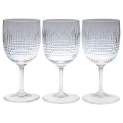 Set of Nine Baccarat Crystal 'Nancy' Pattern White Wine Glasses, circa 1950s