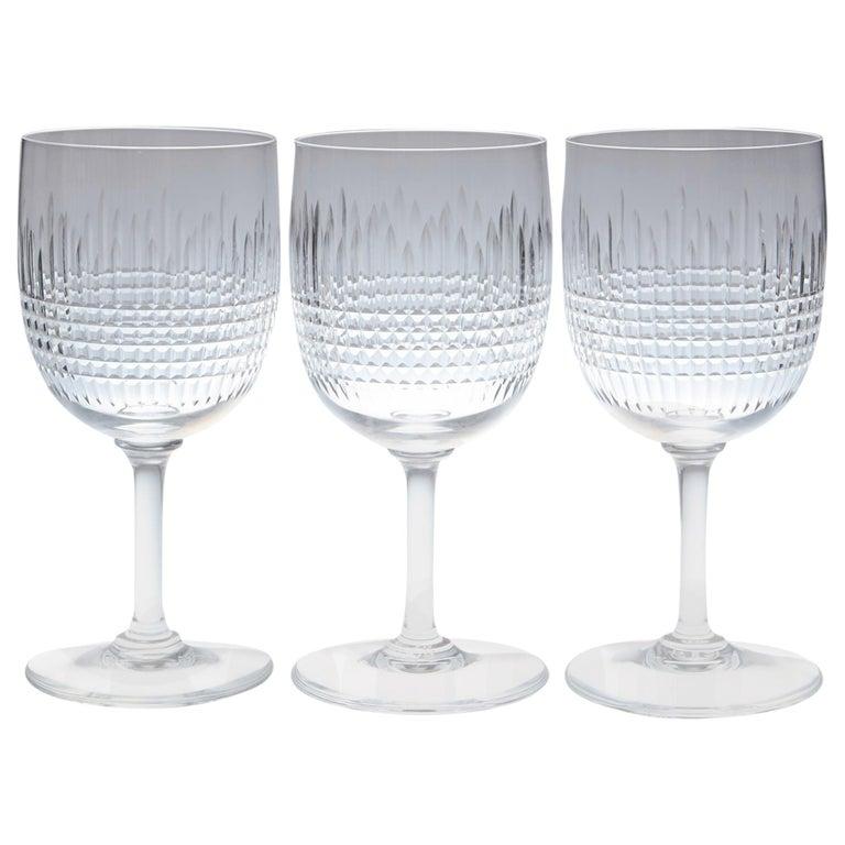 Set of Nine Baccarat Crystal 'Nancy' Pattern White Wine Glasses, circa 1950s