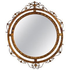 Spanish Mirror with Round Gilt Iron Fancy Double Edge Frame
