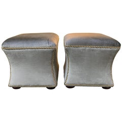 Chic Pair of Elegant Hourglass Shaped Silk Velvet Ottoman Stools