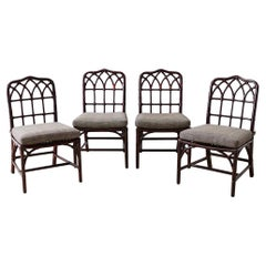 Set of Four McGuire Lacquered Bamboo Dining Chairs