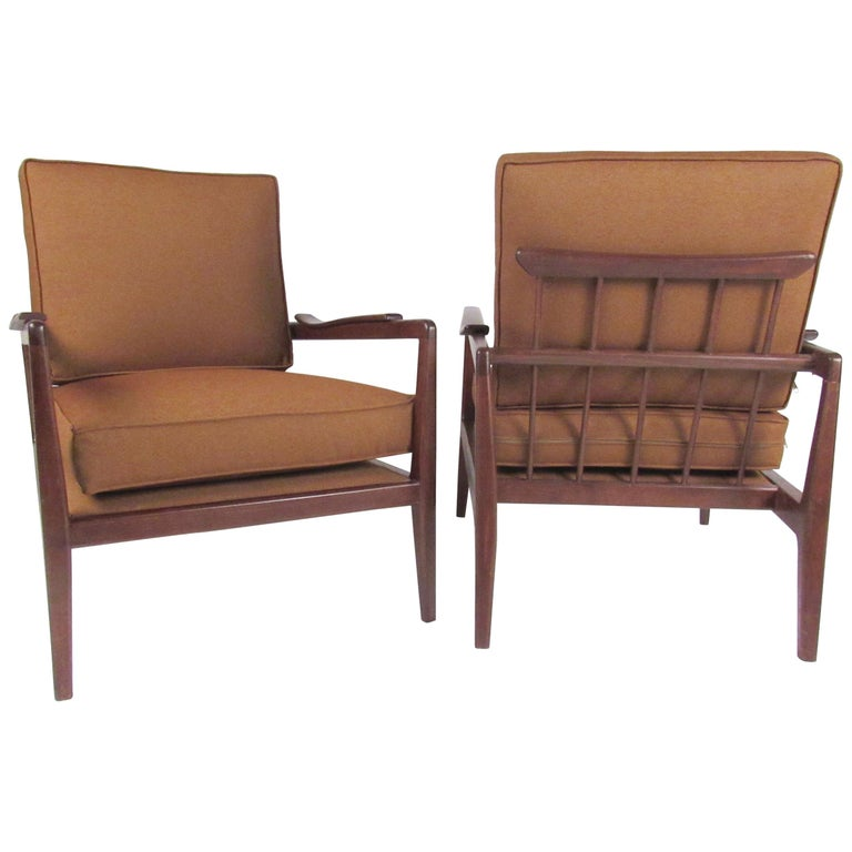 Pair Vintage Modern Walnut Lounge Chairs