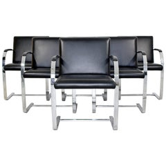 Mid-Century Modern Knoll Brno Set of 6 Chrome Black Leather Dining Armchairs