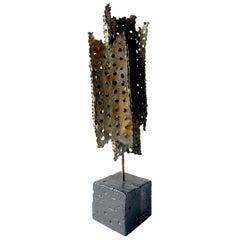 Tom Greene Perforated Modernist Metal Sculpture