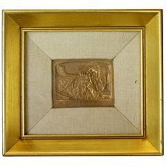 Framed Signed Small Bronze Relief Wall Sculpture Shofar Blower by Boris Schatz