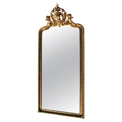 Tall French 19th-20th Century Giltwood and Gesso Carved Grand-Hall Cherub Mirror