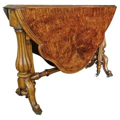 19th Century French Burl Walnut Drop-Leaf Gate Leg Table
