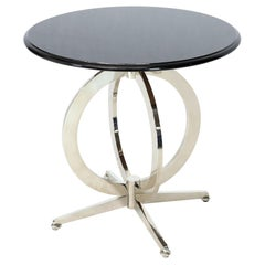 Heavy Gage Chrome Plated Steel Base Marble Top Round Gueridon  Cafe Table Stand