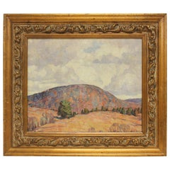 """1950's Oil painting """" Connecticut Hills, Autumn """" By Dines Carlsen 1901-1966"""