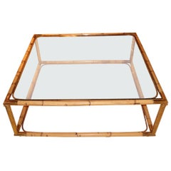 Bamboo and Glass Coffee Table, France, Midcentury