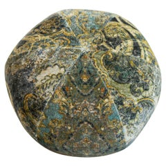 Round Ball Pillow in Velvet Damask Fabric