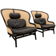 Pair of Danish Leather and Cane Lounge Chairs by Pierre Sindre for Garsnas