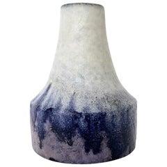 Marcello Fantoni Italian Ceramic Vase with White Blue and Purple Glaze