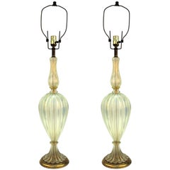 Italian Hollywood Regency Seguso Murano Glass Table Lamps with Gold Flecks