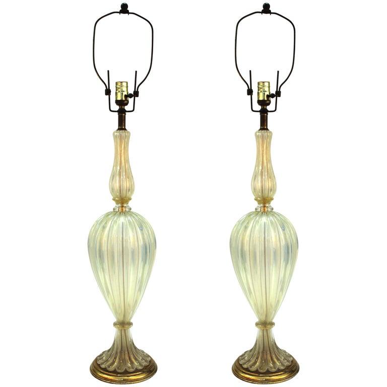 Italian Hollywood Regency Seguso Murano Glass Table Lamps with Gold Flecks