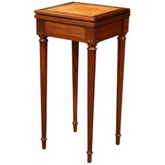 French Louis XVI Carved Walnut Folding Top Game Table with Tan Leather Surface