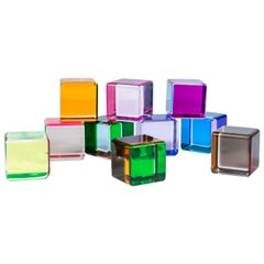 Set of 10 Colored Lucite Cubes by Vasa Mihich