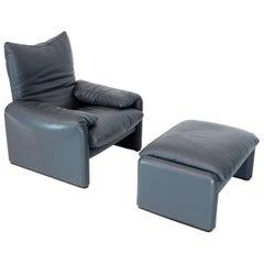 Cassina Leather Lounge and Matching Ottoman Maralunga Vico Magistretti