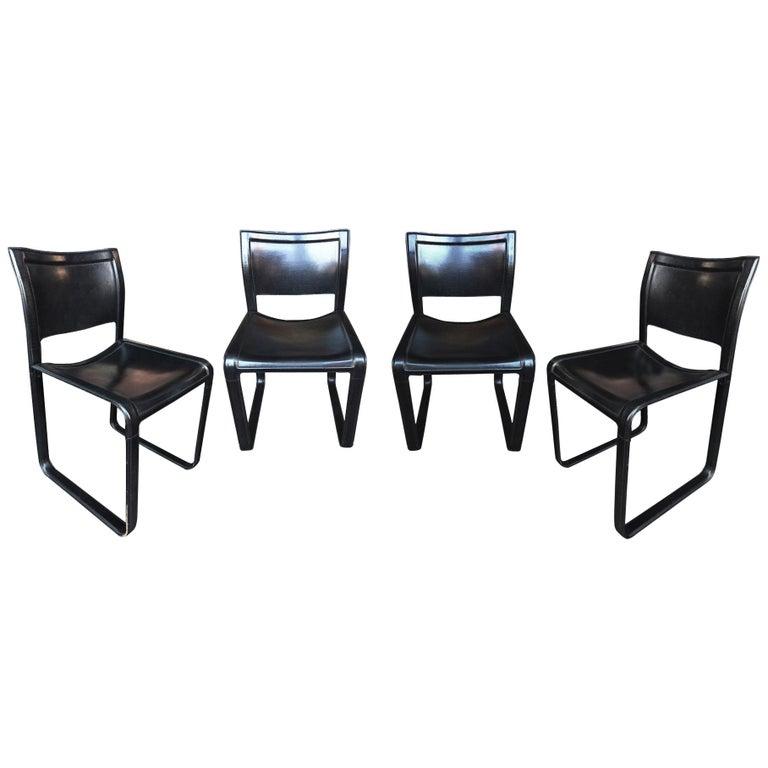 "Set of 4 Black Leather ""Sistina"" Chairs by Tito Agnoli for Matteo Grassi"