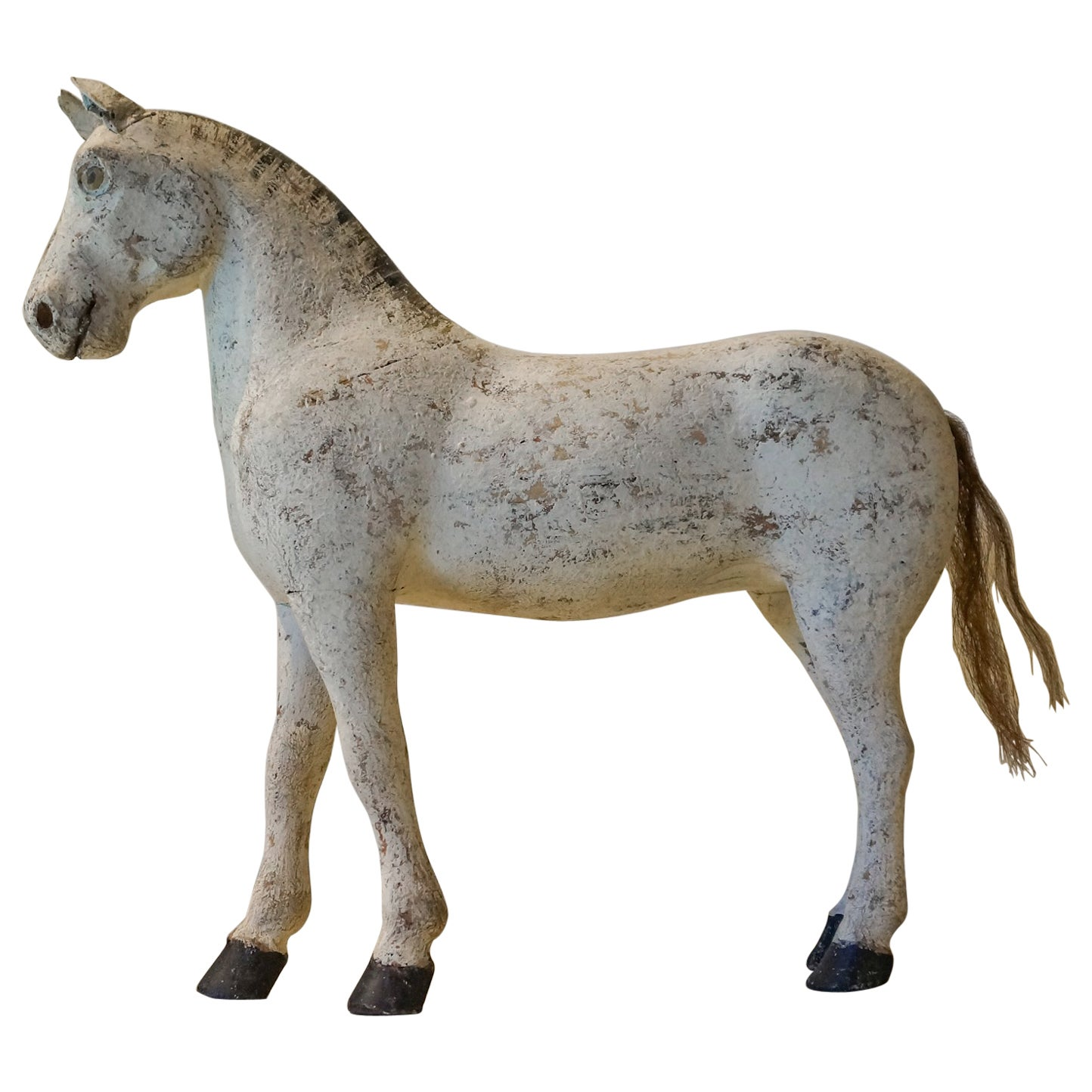 Carved Horse in Original White Paint