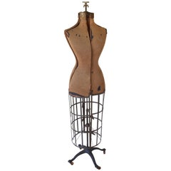 Dress Form from Edwardian Era, Early 1900s, Adjustable Height on Wheels