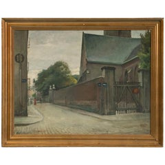 Antique Oil Painting of Copenhagen Street Scene, Saint Peter's Church