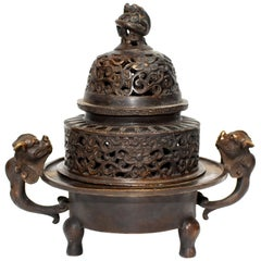 Chinese Antique Incense Burner, Copper Bronze with Dragons, Signed