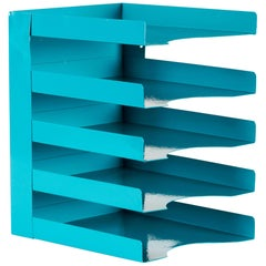 1960s Office Mail Organizer/Magazine Rack Refinished in Teal