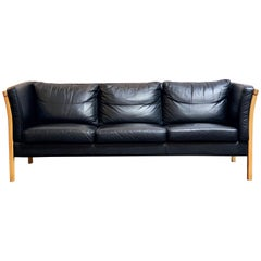 Danish Sofa of Leather and Beech