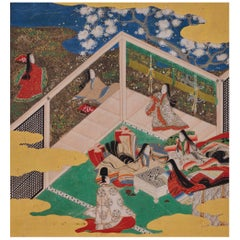 17th Century Japanese Tale of Genji Painting, Takekawa, Tosa School