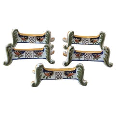 Set of Five Faience Knife Rests Desvres, circa 1890