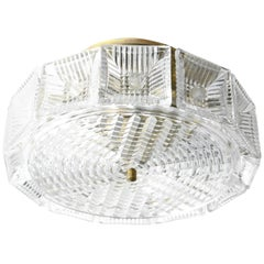 Pair of Orrefors Crystal Flush Mount Designed by Carl Fagerlund
