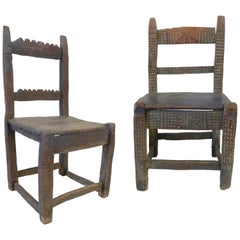 Pair of Carved Wood 18th Century Spanish Colonial Chairs